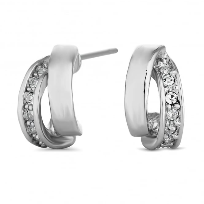 Silver Plated Cubic Zirconia Half Hoop Earring