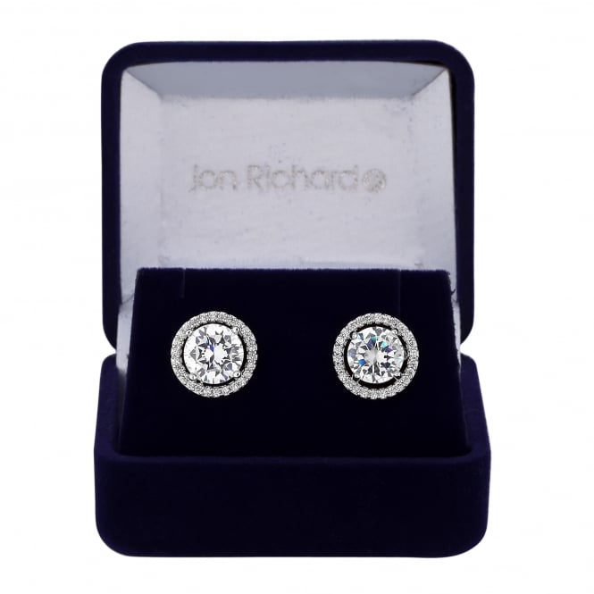 Silver Plated Cubic Zirconia Halo Stud Earring In A Gift Box