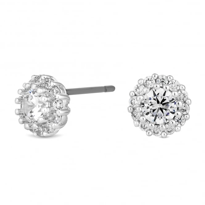 Jon Richard Silver Plated Cubic Zirconia Halo Stud Earring