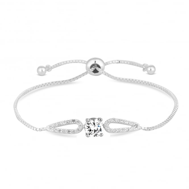 Silver Plated Cubic Zirconia Halo Toggle Bracelet