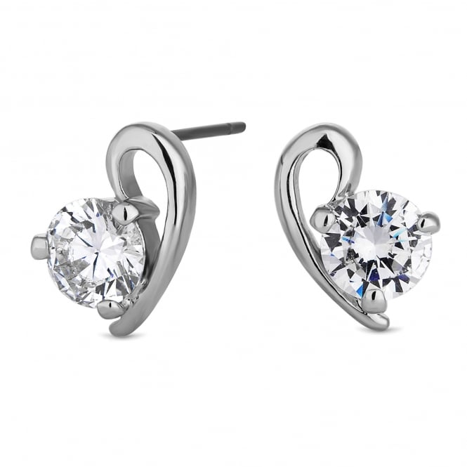 Silver Plated Cubic Zirconia Heart Stud Earring