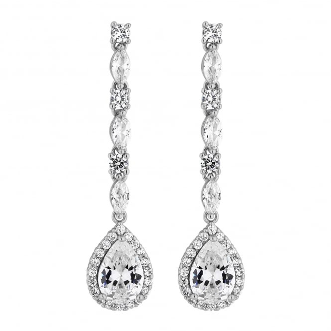 Silver Plated Cubic Zirconia Linear Pear Drop Earring