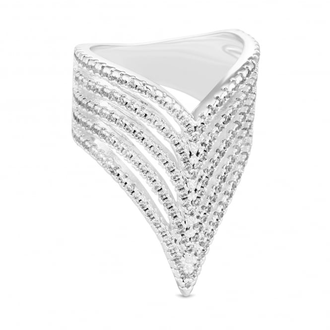 Silver Plated Cubic Zirconia Multi Row Arrow Ring