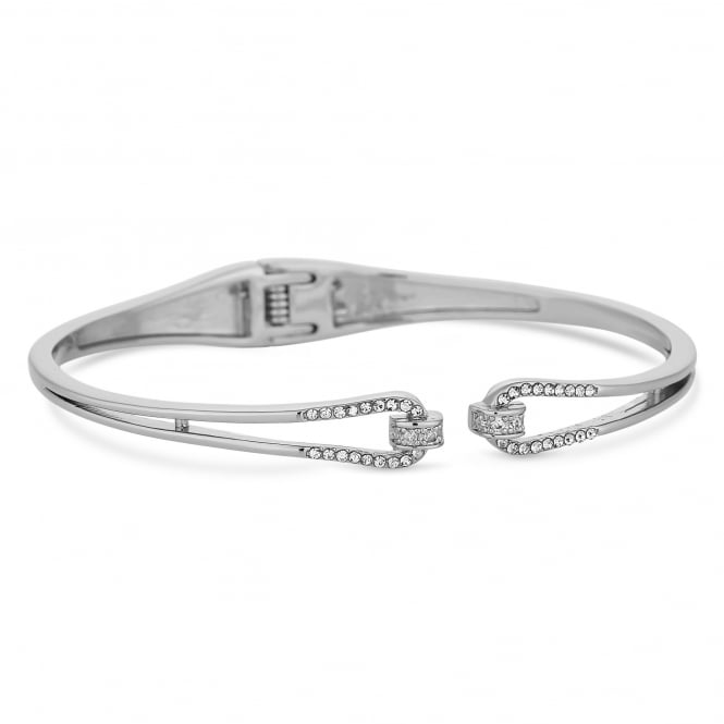 Silver Plated Cubic Zirconia Open Knot Cuff Bangle