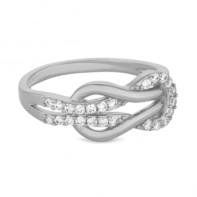 Jon Richard Silver Plated Cubic Zirconia Pave Infinity Ring
