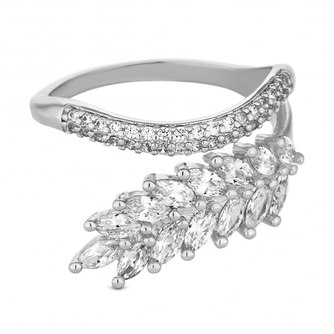 Silver Plated Cubic Zirconia Pave Leaf And Vine Wrap Ring