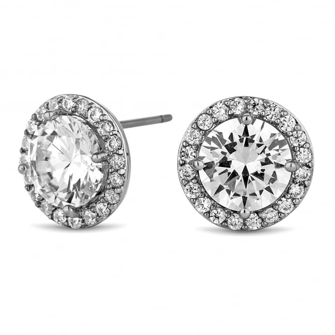 Jon Richard Silver Plated Cubic Zirconia Pave Stud Earring