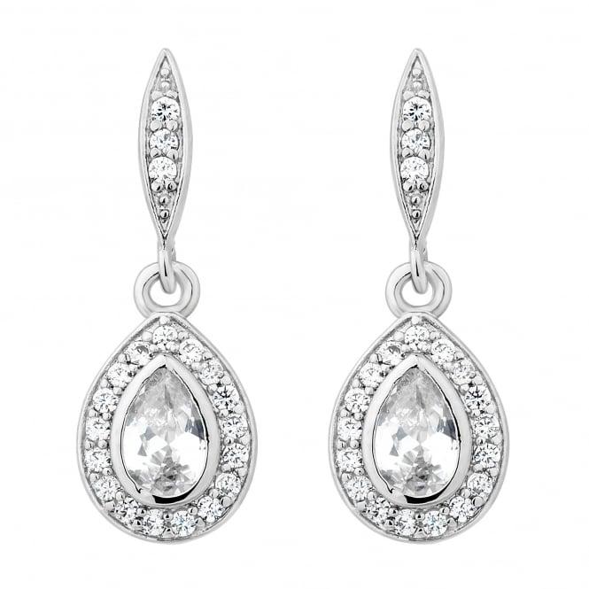 Silver Plated Cubic Zirconia Peardrop Drop Earring
