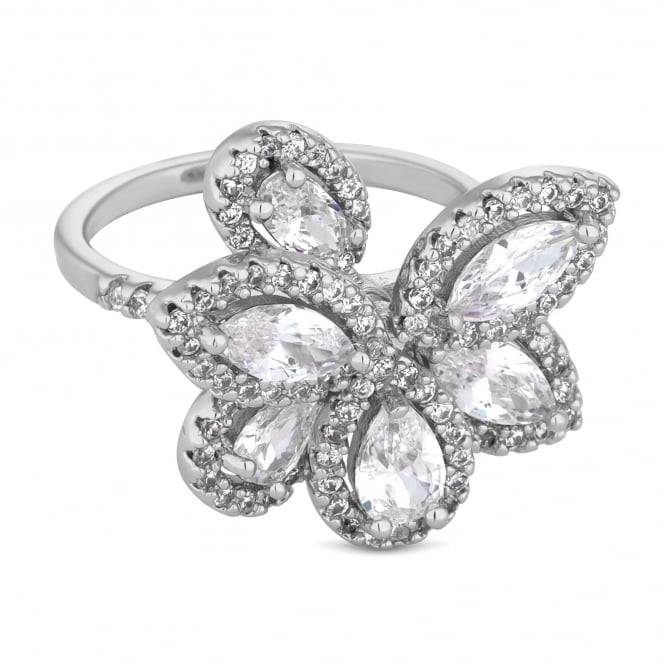 Silver Plated Cubic Zirconia Petal Cluster Ring