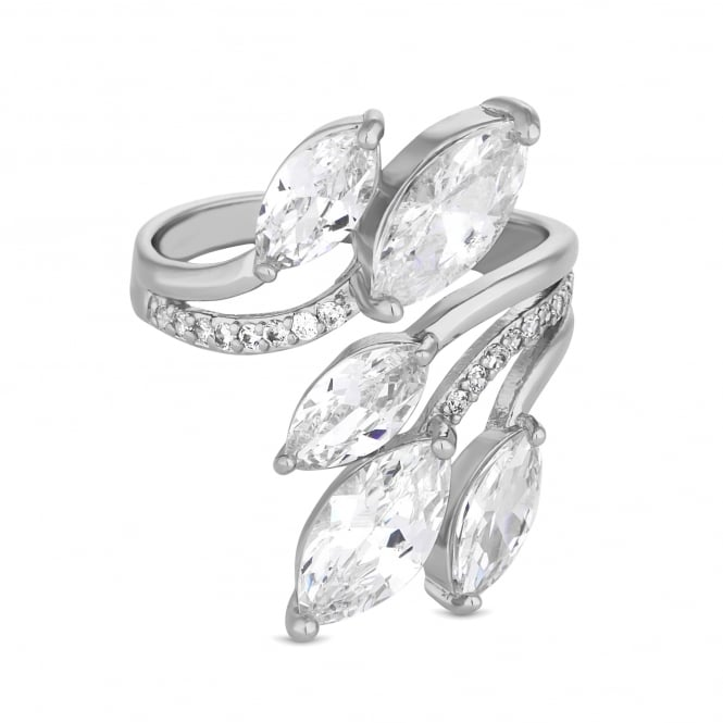 Silver Plated Cubic Zirconia Petal Wrap Ring