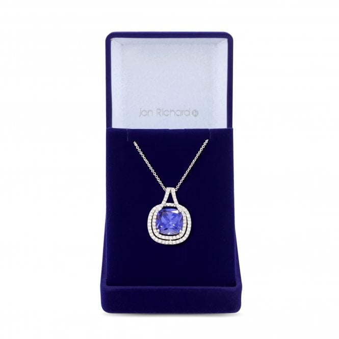 Image of Silver Plated Cubic Zirconia Purple Square Pendant Necklace - Gift Boxed