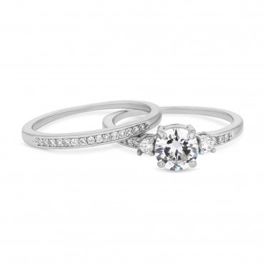 2b9d42c44 Silver Plated Cubic Zirconia Round Stone Engagement Sized Ring Set