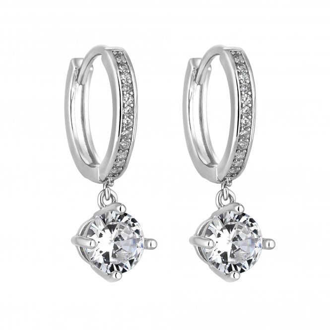 Image of Silver Plated Cubic Zirconia Small Hoop Earrings With Drop Charm