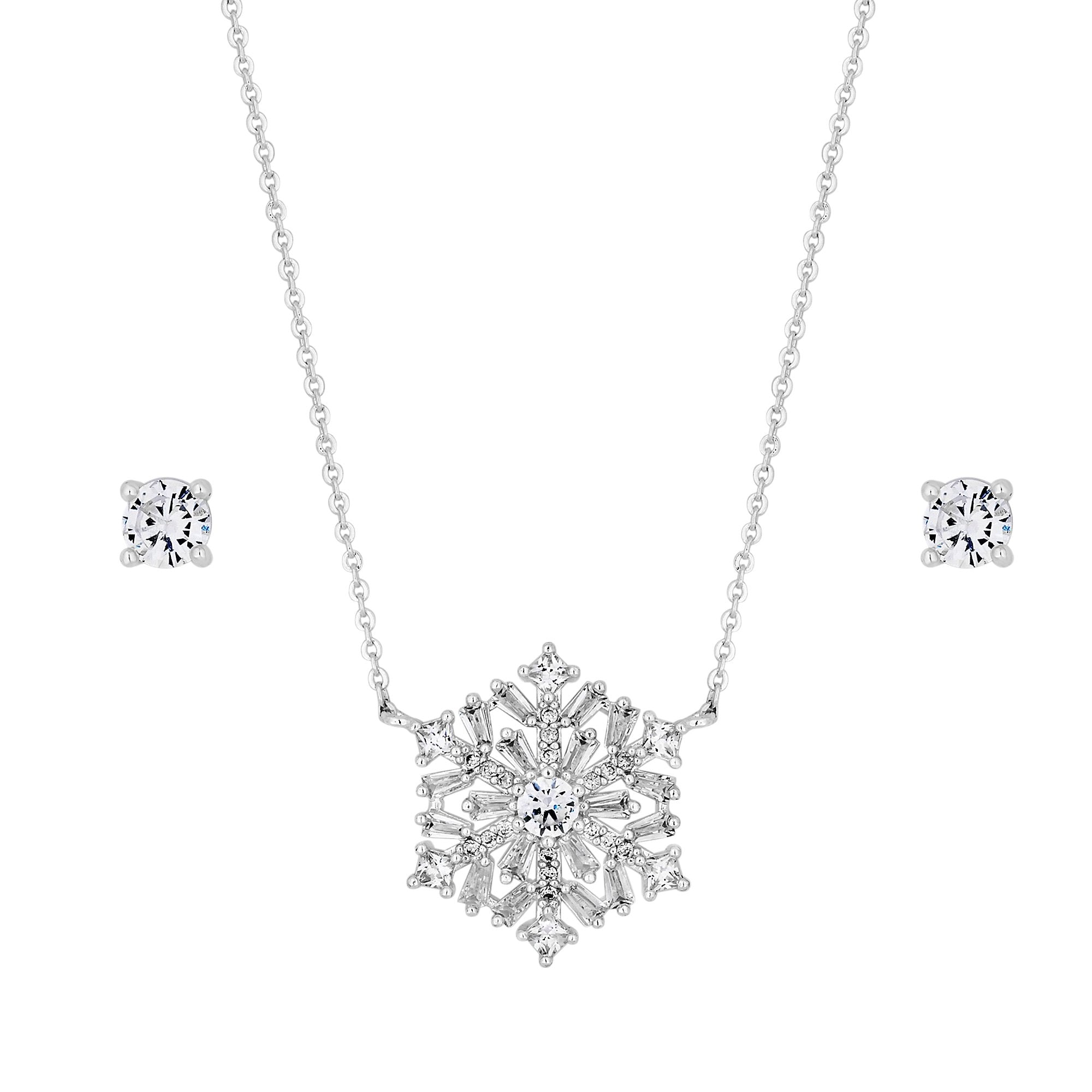 Silver Plated Cubic Zirconia Snowflake Necklace And Earring Set Gift Boxed