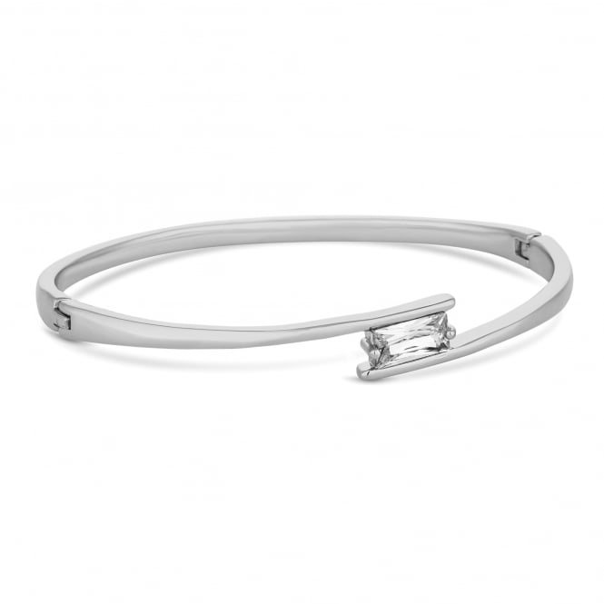 Silver Plated Cubic Zirconia Square Cross Over Bangle
