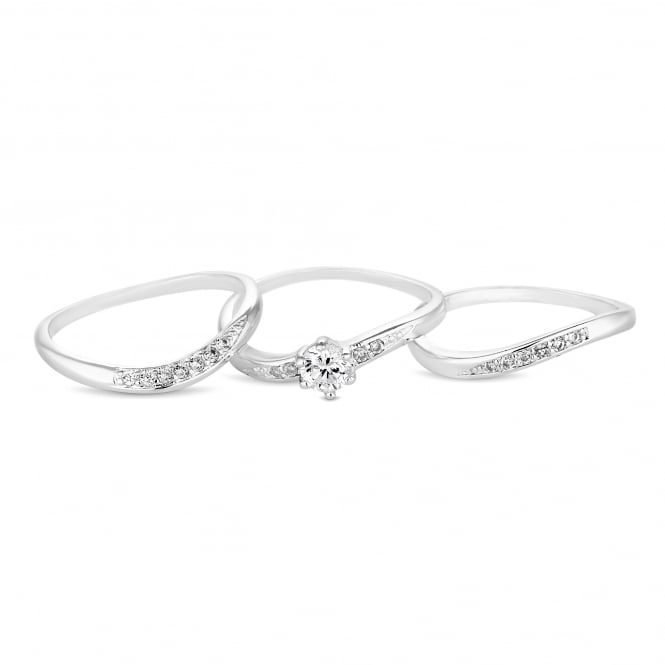 Jon Richard Silver Plated Cubic Zirconia Stacking Ring Set