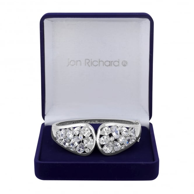 Silver Plated Cubic Zirconia Statement Cuff Bracelet In A Gift Box