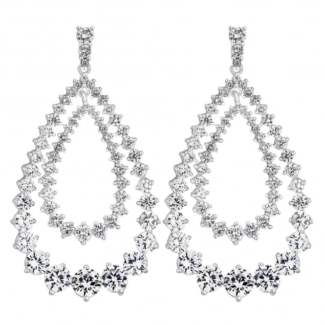 Silver Plated Cubic Zirconia Statement Double Pear Drop Earring