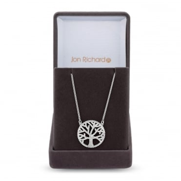 Silver Plated Cubic Zirconia Tree Of Life Necklace In A Gift Box