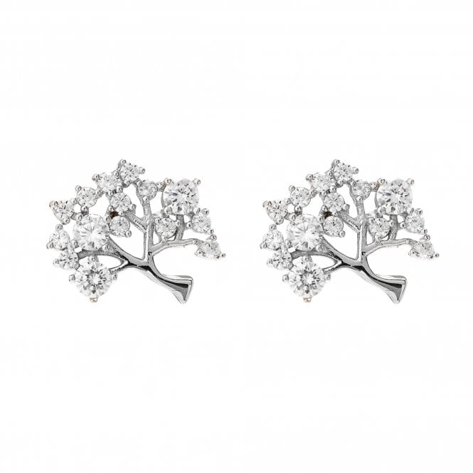 Image of Silver Plated Cubic Zirconia Tree Of Life Stud