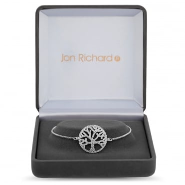 Silver Plated Cubic Zirconia Tree Of Life Toggle Bracelet In A Gift Box