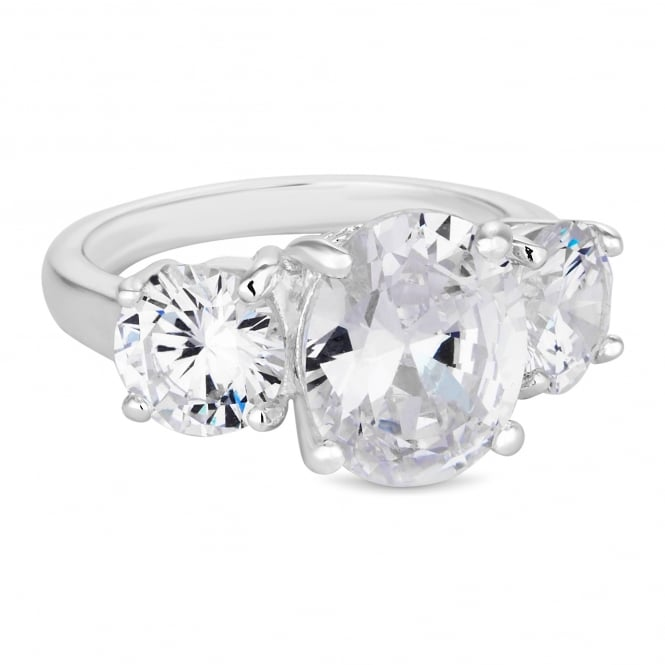 Silver Plated Cubic Zirconia Trio Ring