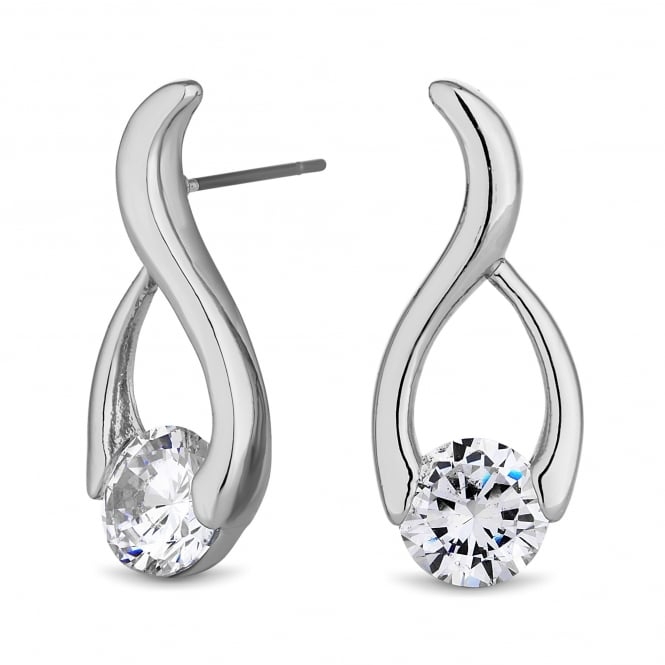 Jon Richard Silver Plated Cubic Zirconia Twist Earring