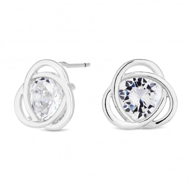 Silver Plated Cubic Zirconia Twist Stud Earring