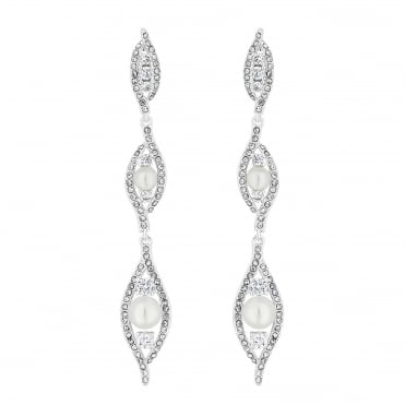 Silver Plated Dewdrop Pearl And Crystal Drop Earrings