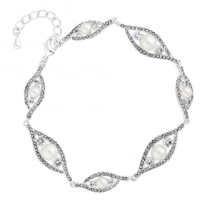 Silver Plated Dewdrop Pearl Crystal Bracelet