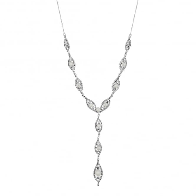 Silver Plated Dewdrop Pearl Crystal Necklace