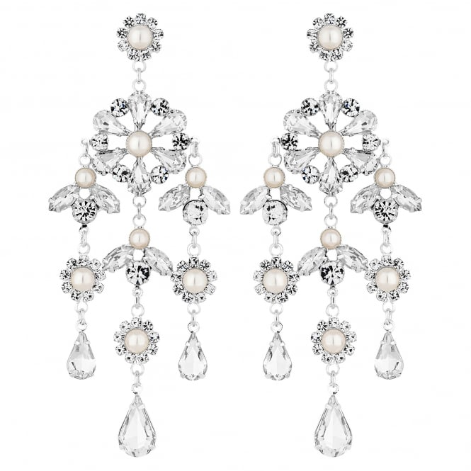 Silver Plated Diamante And Pearl Floral Chandelier Drop Earring