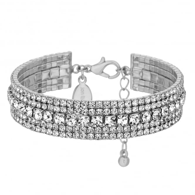 Jon Richard Silver Plated Diamante Crystal Cuff Bangle