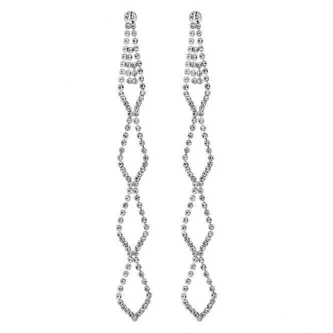 Silver Plated Diamante Cut Out Long Drop Earring