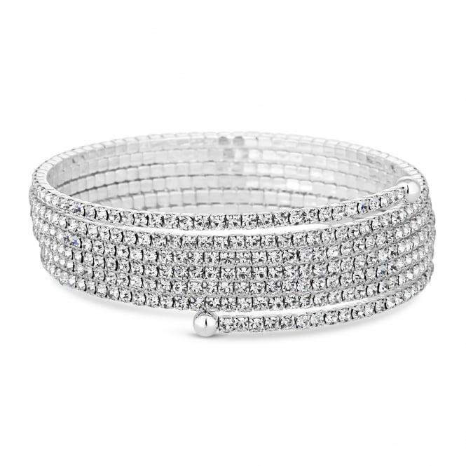 Silver Plated Diamante Fine Diamante Coil Stretch Bracelet