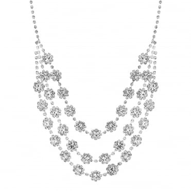 Silver Plated Diamante Floral Multi Row Necklace