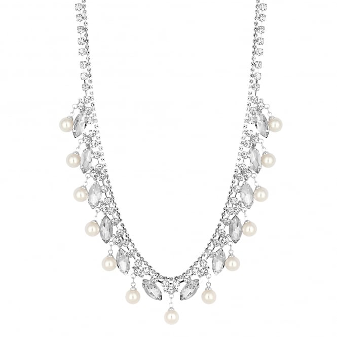 Silver Plated Diamante Pearl Drop Statement Necklace