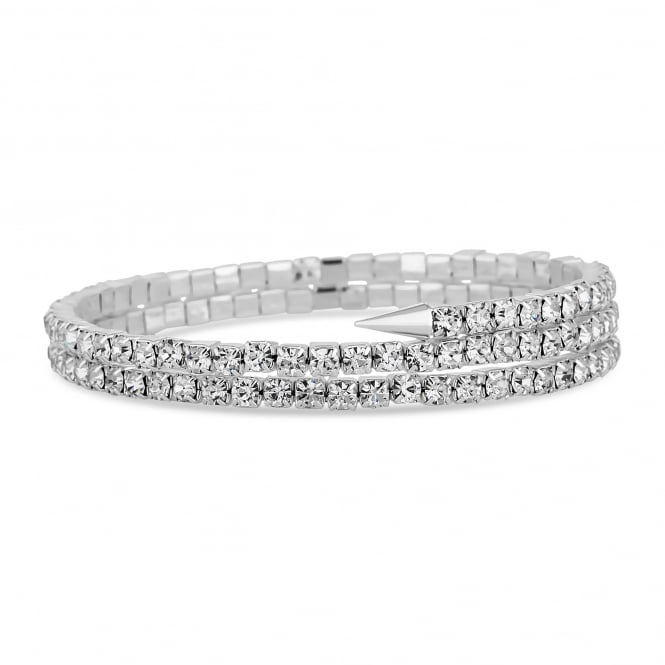 Silver Plated Diamante Point Coil Stretch Bracelet