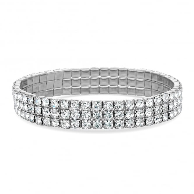 Jon Richard Silver Plated Diamante Stretch Bracelet