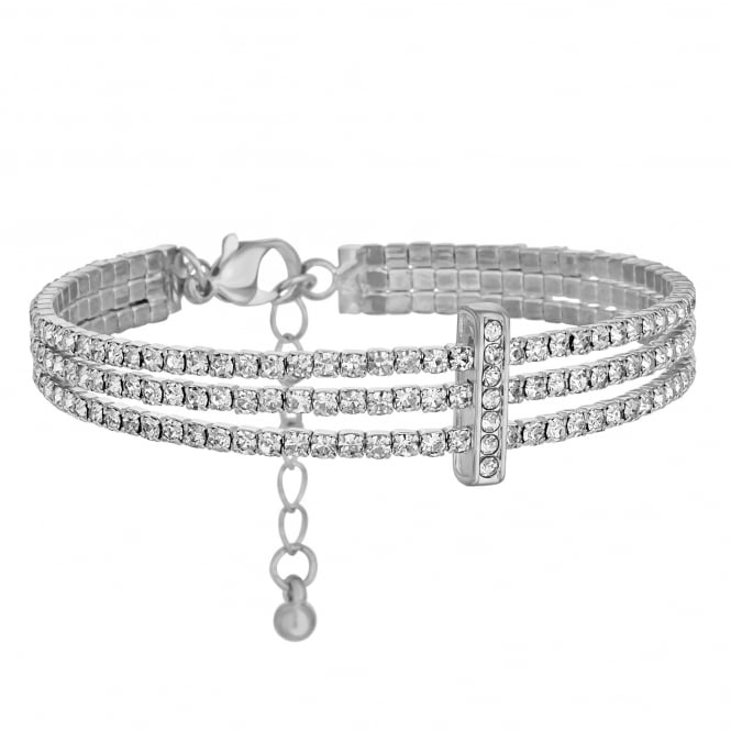 Silver Plated Diamante Triple Row Bracelet