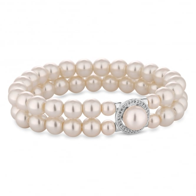 Silver Plated Double Row Pearl Stretch Bracelet