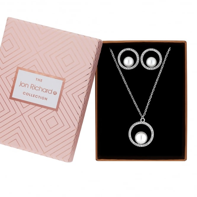 Jon Richard Silver Plated Faux Pearl In A Hoop Jewellery Set In A Gift Box