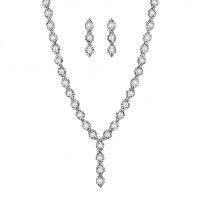 Jon Richard Silver Plated Faux Pearl Y Drop Necklace And Earring Set