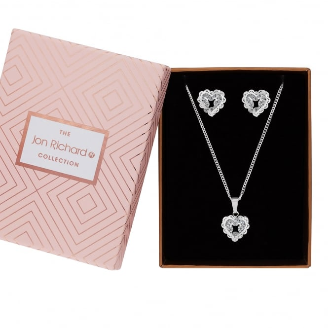 Jon Richard Silver Plated Filigree Crystal Heart Jewellery Set In A Gift Box