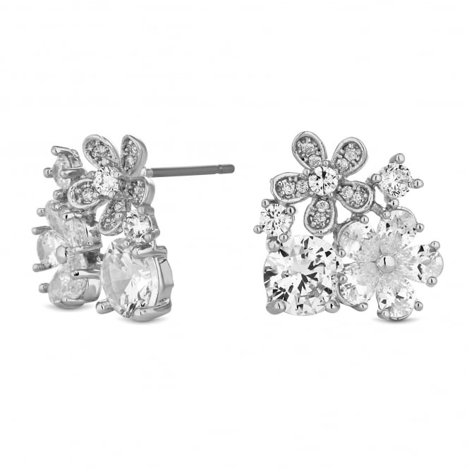 Silver Plated Floral Cluster Stud Earring