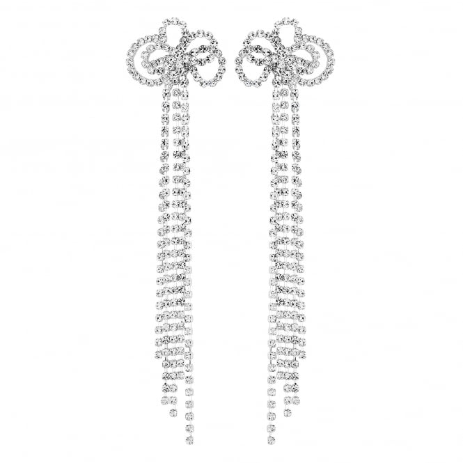 Silver Plated Floral Diamante Drop Statement Earring