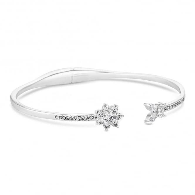 Silver Plated Floral Halo Bangle