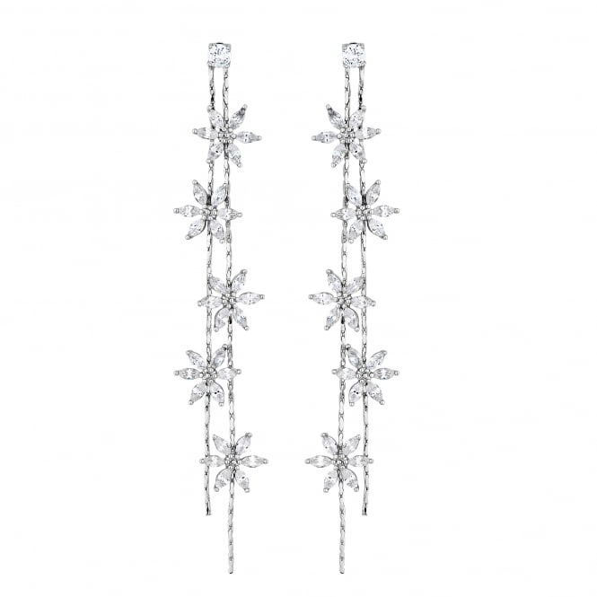 Silver Plated Floral Linear Drop Earring
