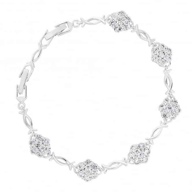 Silver Plated Floral Link Bracelet