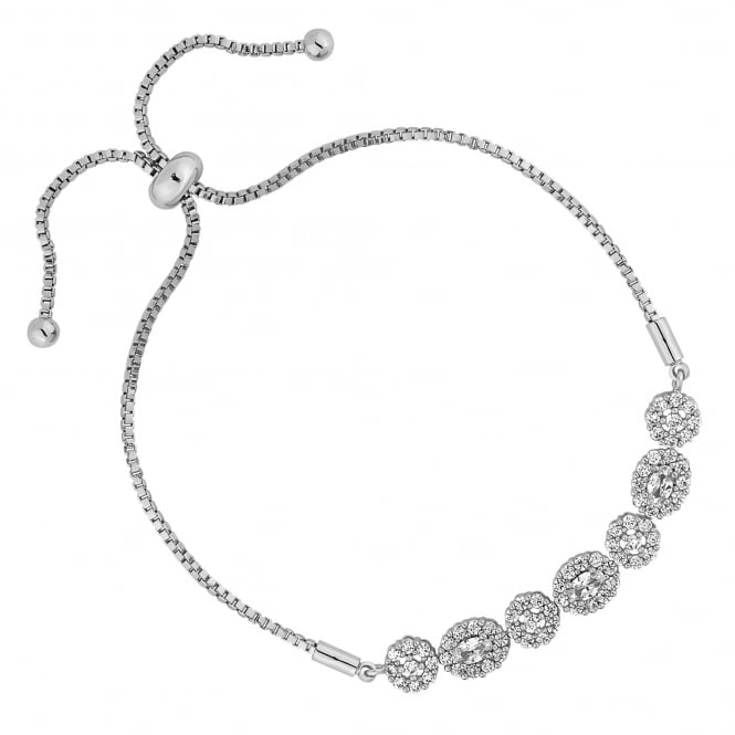 Silver Plated Floral Toggle Bracelet